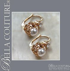 RARE & Pristine! Gorgeous Fine Antique French Victorian circa 1838 18K Rose-Yellow Gold Salt Water Pearl & White Sapphire (Diamond-Cut) Earrings Jewelry Jewellery