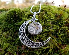 Beautiful Moon Necklace, Pendant,  Victorian Necklace,Chain Necklace, Watch movement necklace, Steampunk jewelry gift  for her. by Mysstic on Etsy