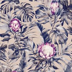 A beautiful exotic floral featuring a sophisticated colour palette to bring a new take on the tropical trend for the home with the inclusion of the stunning protea. #tropicalwallpaper #proteadecor #interiordesign Buy Wallpaper Online, Wallpaper Direct, Love Wallpaper, Designer Wallpaper, Pattern Wallpaper, Nature Wallpaper, Mendoza, Rose Gold Wallpaper, Tropical Wallpaper