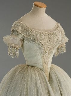 Heavily Beaded Dress - Cream Netting over Pale Green Silk - La Traviata (1982)  Tirelli Costumi  http://www.tirelli-costumi.com/en/ - Beautiful! If only it were modest!