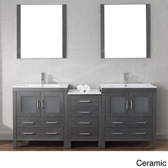 Virtu USA 78 inch Dior double sink vanity is the essence of beauty and quality material. This Dior set comes with two vanities, one side cabs that comes with a total of four soft closing doors, eight soft closing drawers, two mirrors..more.