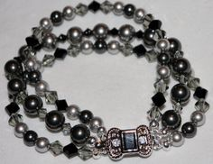 Swarovski Crystal & Pearl Black and Gray 3 Strand Bracelet