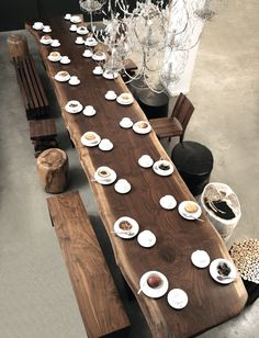 These dining tables are just amazing. If you have room for big dining table don't think twice. Long dining tables look very strong and impressive in the Wooden Dining Tables, Rustic Table, Dining Room Table, Table And Chairs, Interior Exterior, Kitchen Interior, Coffee Table With Drawers, Farmhouse Kitchen Tables, Log Furniture