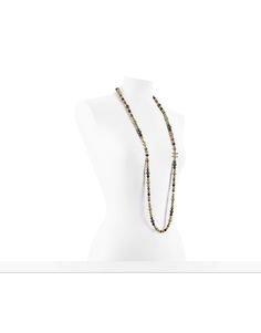 CHANEL LONG NECKLACE ( METAL & GREEN PEARLS + GOLD, GREEN & BROWN )