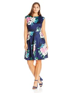 Eliza J Women's Plus-Size Printed Cap Sleeve Dress