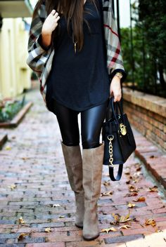 plaid batwing cardigan and leather leggings