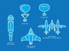 Aircrafts for space tourism, icons