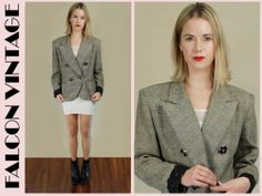 Vtg 80s CHRISTAIN DIOR Bedazzled Button Plaid DBL Breasted Blazer Jacket L