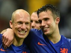 Arjen Robben, Robin van Persie, WK Voetbal 2014, Nederland-Spanje 5-1, Salvador, Brazilië.