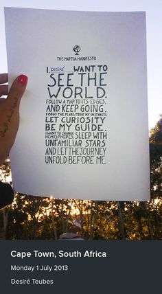 The manifesto in Cape Town, South Africa.