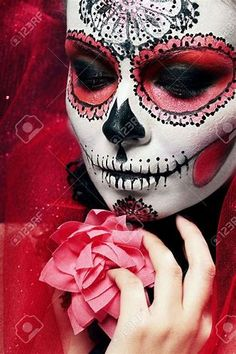 Picture of halloween make up sugar skull beautiful model with perfect hairstyle. stock photo, images and stock photography. Candy Skull Makeup, Halloween Makeup Sugar Skull, Amazing Halloween Makeup, Candy Skulls, Halloween Costumes For Girls, Halloween Make Up, Halloween Ideas, Halloween Party, Maquillaje Sugar Skull