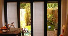 Optimal Patio Door Shades Solution : Patio Doors With Built In Shades. Patio doors with built in shades. Sliding Door Shades, Best Sliding Glass Doors, Sliding Door Blinds, Sliding Door Hardware, Sliding Panels, Blinds For French Doors, Blinds For Windows, Windows And Doors, Window Blinds
