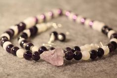Necklace, earrings, bracelet made of amethyst, crackled agate and sterling silver