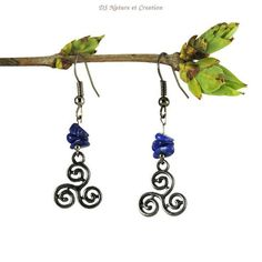 Sacred symbol earrings, lapis lazuli earrings gemstone, spiral symbol jewelry, triskele earring, gem