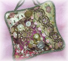 Victorian Crazy Quilt Door Know Hanger by Kitty & Me Designs :: FB Page: https://www.facebook.com/pages/Kitty-Me-Designs/257728759348