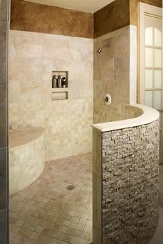 bathroom remodeling ideas large walk in shower with privacy wall built in bench and niche