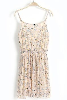 Beige Spaghetti Strap Floral Chiffon Dress ARS$133.26