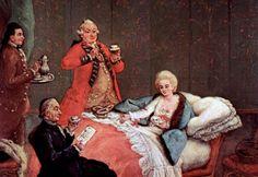 O chocolate da manhã - Pietro Longhi  C'a Rezzonico Veneza  A pintura, datada por Pignatti (1968 e 1974) da segunda metade do oitavo decênio, está na pinacoteca da Fundação Querini Stampalia de 1780, e é um exemplo típico produção tardia de Longhi.   Peter Falca (5 de Fevereiro 1702-8 Maggio1785, Veneza) chamado Longhi, por causa da altura de alguns membros de sua família, nos dá um exemplo maravilhoso deste hábito alimentar.  O pintor veneziano  é o autor desta pintura intitulada, o…