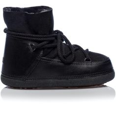 Ikkii Black Suede Sheepskin Shearling Moon Boots ($340) ❤ liked on Polyvore featuring shoes, boots, black laced boots, sheeps boots, black moon boots, suede lace up boots and sheepskin boots