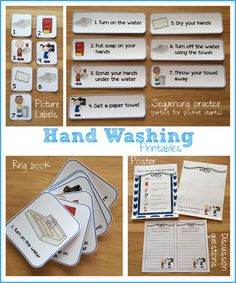 Hand washing printables - great for teaching children how to wash their hands properly, and for meeting health and safety standards