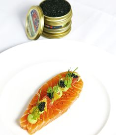 Caviar and avocado purée round off an elegant citrus-cured salmon recipe from Luke Tipping.