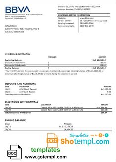Venezuela BBVA bank proof of address statement template in Word format (doc) Account Verification, Job Resume Samples, Birth Certificate Template, Statement Template, Bank Statement, Best Templates, Word Doc, Save Yourself, How To Apply