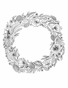 flower wreath coloring page Leaf Coloring Page, Space Coloring Pages, Fruit Coloring Pages, Coloring Pages For Grown Ups, Abstract Coloring Pages, Spring Coloring Pages, Heart Coloring Pages, Pokemon Coloring Pages, Pattern Coloring Pages