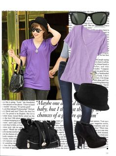 """""""Celebrity Style: Demi Lovato"""" oh jeez, I love this. The baggy shirt is comfy while the heels add a more girly feel."""