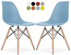La Valley - Eames Style DSW Molded Plastic Shell Dining C...