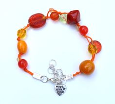 Orange Bracelet  Bright Bead Bracelet  Colourful by PinkBeading, £10.00