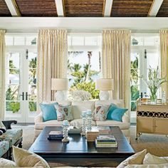 15 Traditional Seaside Rooms | Naturally Yours | CoastalLiving.com     This living room features accents such as a bamboo ceiling & jute grass cloth wallcovering.