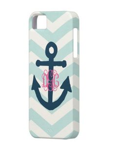 Chevron Anchor Monogram Phone Case