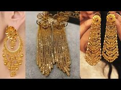 Gold Jhumka Earrings, Gold Earrings Designs, Necklace Designs, Gold Chain Design, Gold Jewellery Design, Gold Earrings With Price, Mughal Jewelry, Ear Jewelry, Gold Jewelry