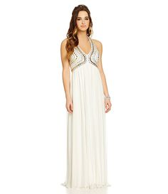 Sequin Hearts Beaded Halter-Neckline Long Dress | Dillards.com