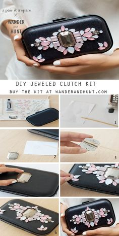 Purchase the kit here. Also available in Navy with Blue & Green Rhinestones. Supplies: Clutch bag Assortment of rhinestones (we have included...