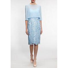 Buy 'Gina Bacconi Bouquet Guipure Dress with Chiffon Top, Sherbert Online at johnlewis.com