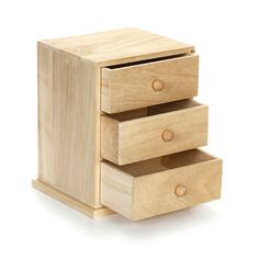 This small wooden cabinet is perfect for a tabletop, desk top, or dresser. Use the three drawers in this cabinet for office supplies, jewelry, hair essentials and more!Each set of unfinished wooden drawers measures 6.69 x 5.9 x 8.07 inches. One small wooden cabinet per package.
