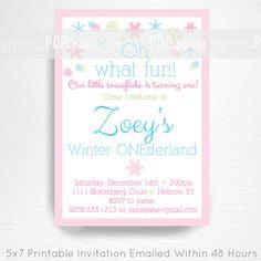 Winter Wonderland Birthday Party Printable by printpopparty, $15.00