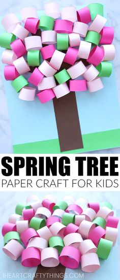 This 3D Spring paper tree craft is a fun paper craft for kids to help celebrate the beginning of the spring season. The beautiful light and dark pink colors mixed with the green is reminiscent of pretty cherry blossom trees that come to life every spring.