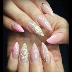 Glittery Pretties  for @sh.ar.na xx #getbuffednails #glitter from @glitter_heaven_australia  #notd #instanails #ignails #nailartdesigns #nailprodigy #pointynails #Swarovski #bling #gellyfit #nailswag #melbournenailart #nailtech #acrylicnails