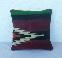 Your place to buy and sell all things handmade, vintage, and supplies Kilim Cushions, Throw Pillows, Wool Thread, Minimal Decor, Dark Colors, Bohemian Decor, Chevron, Hand Weaving, Zig