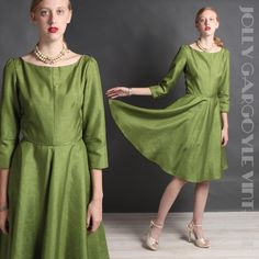 Vintage 1950s silk lime green satin full skirt fit and flare dress - MD to LG rockabilly pin-up by TheJollyGargoyle on Etsy https://www.etsy.com/listing/207767976/vintage-1950s-silk-lime-green-satin-full