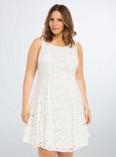Plus Size Lace V-Hem Dress, CLOUD DANCER