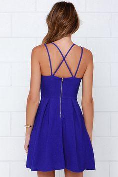 Pretty Royal Blue Dress - Sleeveless Dress - Strappy Dress - $44.00