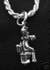 new moose on toilet bathroom pendant charm 3d silver Real Sterling silver 925 pendant Charm jewelry by princeofdiamonds
