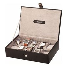55ff3f0c85043 Watch storage box for men. Mele and co wooden watch box in black. This box  for 10 watches closes with a magnetic flap.