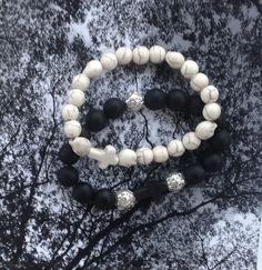 2 bracelet homme Skulls perles noires obsidienne amatie et coouleur os : Bijoux pour hommes par made-with-love-in-aiacciu