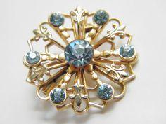 Vintage Blue Rhinestone Fleur de Lis Brooch by GrandVintageFinery, $16.00