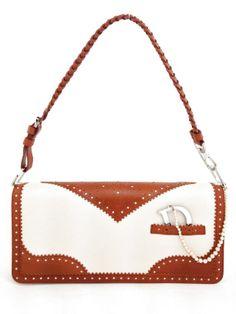 Brand New Christian Dior Camel & Ivory Leather D Trick Spectator Bag. #dior #christiandior