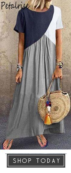 Women's Plus Size Stitching Color Dress - Damen Mode 2019 Linen Dresses, Casual Dresses, Summer Dresses, Dresses Dresses, Boho Fashion, Fashion Dresses, Womens Fashion, Mode Hijab, Mode Outfits